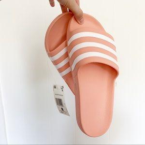 NEW Adidas Adilette Aqua Slides dusty pink peach 8